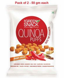 The Green Snack Co. Quinoa Puffs Fiery Spice Pack of 2 - 50 gm Each