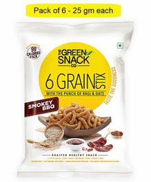 The Green Snack Co. 6 Grain Stix Smokey BBQ Pack of 6 - 25 gm Each