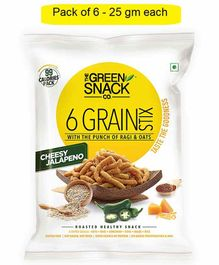 The Green Snack Co. 6 Grain Stix Cheesy Jalapeno Pack of 6 - 25 gm  Each