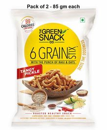 The Green Snack Co. 6 Grain Stix Tangy Pickle Pack of 2 - 85 gm Each