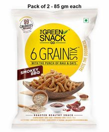 The Green Snack Co. 6 Grain Stix Smokey BBQ Pack of 2 - 85 gm