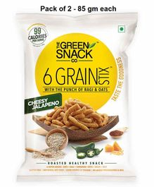 The Green Snack Co. 6 Grain Stix Cheesy Jalapeno Pack of 2 - 85 gm