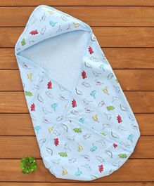 Baby Naturelle & Me Swaddle Wrapper Dino Print - Light Blue