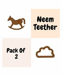 Wufiy Wooden Cloud & Horse Shape Neem Teether Glazed With Virgin Coconut Oil & Cotton Bag - Brown
