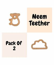 Wufiy Bear & Cloud Shape Neem Teether With Bag