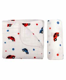 Chotto 100% Cotton Muslin Baby Blanket & Swaddle Wrapper Car Print - White Red