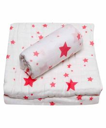 Chotto 100% Cotton Muslin Baby Blanket & Swaddle Wrapper Star Print - White Red