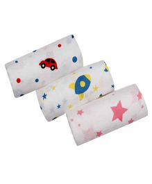 Chotto 100% Cotton Muslin Swaddle Wrappers Multiprint Pack of 3 - White