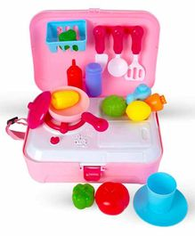 Sanjary Kitchen Set with Play Foods Pink - 21 Pieces