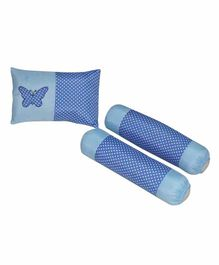 Oscar Home Pillows & Bolster Set Butterfly Patch Pack of 3 - Blue