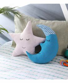 Oscar Home Moon & Star Shaped Cushions Pack of 2 - Blue Pink