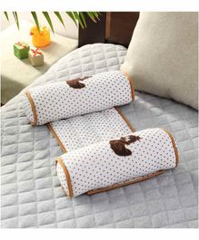 Oscar Home Cylinder Shape Anti Roll Pillow Duck Embroidery - White