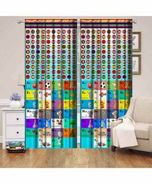 Muren 3D Printed Door Curtain Numbers & Alphabet Print - Multicolor