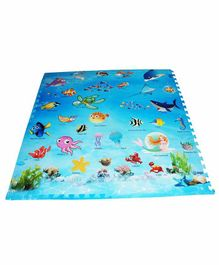 Muren Interlocking Square Play Mat  Fish Print - Blue