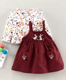 Babyoye Bunny Embroidered Frock with Full Sleeves Floral Tee - White Maroon