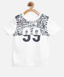 Alcis Half Sleeves Number 99 Printed Tee - White