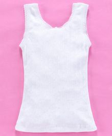 Kanvin Sleeveless Solid Color Thermal Vest - White