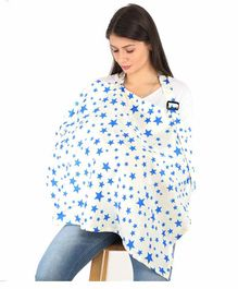 Lulamom Cotton Nursing Cover with Straps Star Print - Blue White
