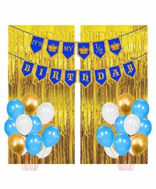Party Propz Half Birthday Decoration Kit Blue Golden - Pack of 91