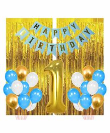 Party Propz First Happy Birthday Balloons Decoration Kit Blue Golden - Pack of 92