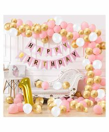 Party Propz 1st Happy Birthday Balloons Decoration Kit Pink Gold - Pack of 90