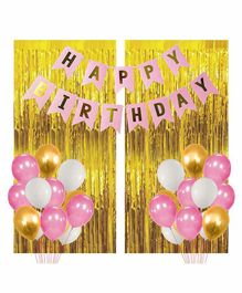 Party Propz Birthday Decoration Kit Pink Golden - Pack of 91