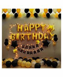 Party Propz Happy Birthday Balloons Decoration Kit with Straw Golden Black - Pack of 42