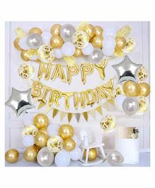 Party Propz Happy Birthday Balloons Decoration Kit Golden Silver - Pack of 44