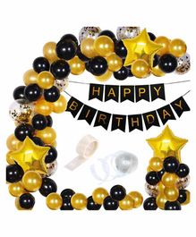 Party Propz Happy Birthday Balloons Decoration Kit Black Golden - Pack of 91