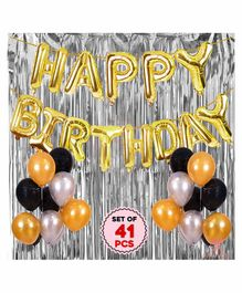 Party Propz Happy Birthday Balloon Decoration Kit Golden Silver Black - Pack of 42