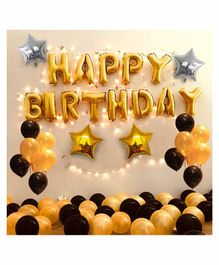 Party Propz Happy Birthday Balloon Kit Golden Black - Pack of 35