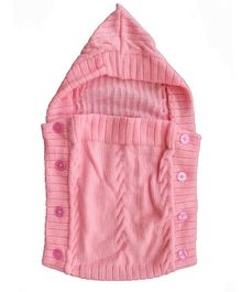 Woonie Solid Colour Machine Knit Hooded Sleeping Bag - Light Pink