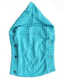 Woonie Solid Colour Machine Knit Hooded Sleeping Bag - Light Blue