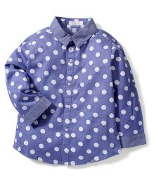 KR White Dotted Print Shirt - Blue