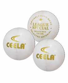 Ceela Sports League Cricket Ball Set of 3 - White