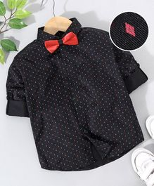 Robo Fry Party Wear Full Sleeves Shirt With Bow - Black