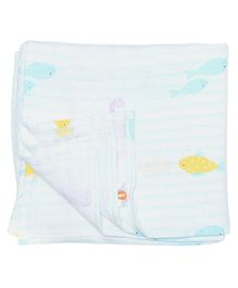 Ooka Baby Muslin Cotton Swaddle Wrapper Sea Horse Print - White Pink