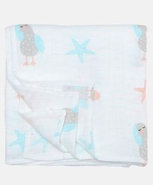 Ooka Baby Muslin Cotton Swaddle Wrapper Seagull Print - White Peach