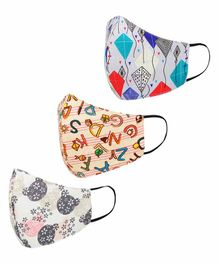 Tossido 2 to 7 Years 3 Ply Premium Cotton Printed Masks Multicolor - Pack of 3