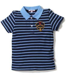 Trombone Striped Print T-Shirt  - Blue