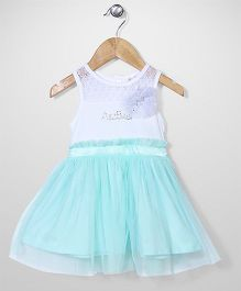 AZ Baby Dress With Flower Applique - White & Aqua