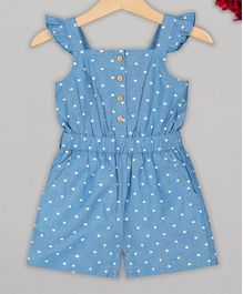 Budding Bees Cap Sleeves Polka Dot Printed Jumpsuit - Blue