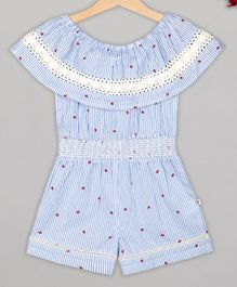 Budding Bees Half Sleeves Striped Smocking Jumpsuit - Blue