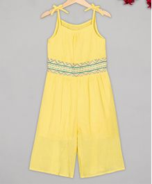 Budding Bees Sleeveless Embroidery Detailing Jumpsuit - Yellow