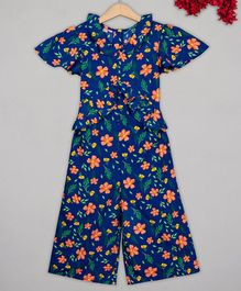 Budding Bees Short Sleeves Floral Print Jumpsuit - Navy Blue