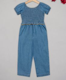 Budding Bees Half Sleeves Solid Smocking Jumpsuit - Blue