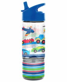 Stephen Joseph Sip And Snack Bottle Vehicle Print Blue - 350 ml & 104 ml