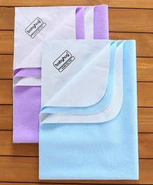 Babyhug Smart Dry Bed Protector Sheet Pack of 2 - Blue and Purple