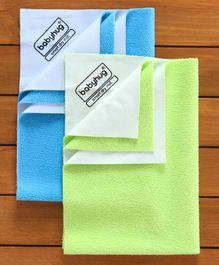 Babyhug Smart Dry Bed Protector Sheet Pack of 2 - Blue And Green