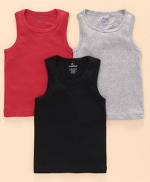 Kiddopanti Pack Of 3 Sleeveless Solid Rib Vests  - Grey Black & Red